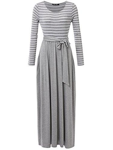 JayJay Women Stripe Print Long Sleeve U-Neck Tie Waist Maxi Casual Dress with Pocket,HeatherGray,2XL