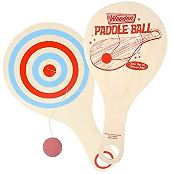 ArtCreativity Wooden Paddle Balls Pack of 2 11 Inch Wood Paddleball with String Great Party Favors Goodie Bag Fillers Fun Activity Toys for Kids