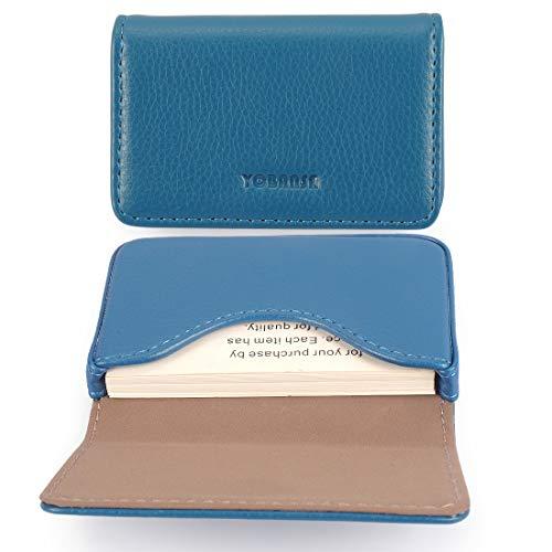 YOBANSA Porta biglietti da visita in pelle sintetica,Porta biglietti da visita,Porta biglietti da visita con fibbia magnetica per uomini e donne (Blue)