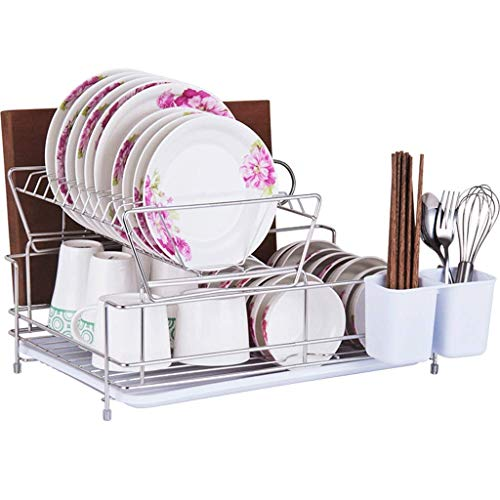 KFDQ Dish Drying Rack Kitchen Stainless Steel 2-Tier Dish Drainer Plate Rack Holder Organization Shelf with Drip Tray