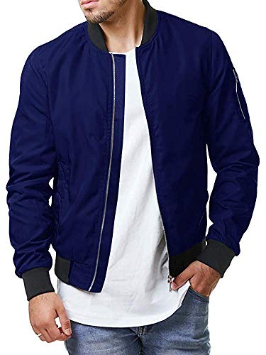 Enjoybuy Mens Lightweight Bomber Jackets Fall Winter Outerwear Full Zip Up Baseball Varsity Jacket (Medium, Blue)