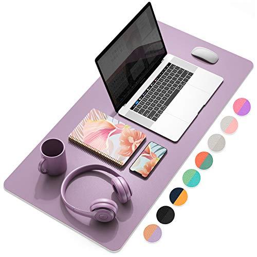 YSAGi Schreibtischunterlage, Tischunterlage, 80 * 40 cm PU-Leder Laptop Tischunterlage, Ultradünnes Schreibunterlage zweiseitig nutzbar, ideal für Büro und Zuhause (Dunkelviolett, 80 * 40 cm)