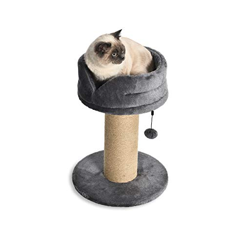 AmazonBasics – Großer Katzen-Kratzbaum mit Plattform-Bett, 41 x 41 x 53 cm, grau