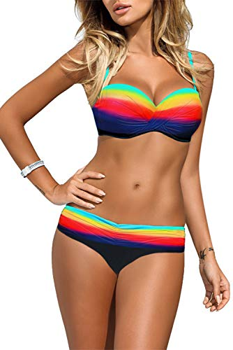 Women Elegant Vintage Push Up Padded Two Piece Low-Rise Bikini Set Swimsuit Multicolor Large 12 14