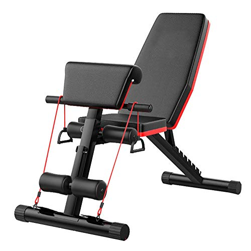 Multifunktion Hantelbank Verstellbar 4 in1 Training Fitness Bank Verstellbar Klappbare Hantelbank Sit-ups Bank mit Profihantel Hantelbank mit Kordelzug Sichere und Stabile Halterung