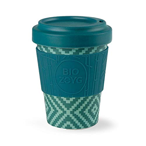 BIOZOYG Bio Coffee-to-Go-Becher Bambus mit Deckel und Silikonmanschette I Nachhaltiger Bambus Trinkbecher to Go Kaffee-Becher Bamboo Raute Ø 9 cm, Höhe 12 cm I Kaffeetrinkbecher to Go 400 ml
