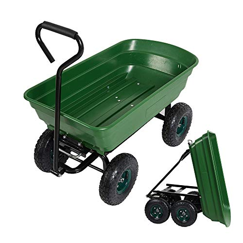 LUCKYERMORE Garden Dump Utility Wagon Cart-550 LB Weight Capacity Multifunctional Wheelbarrow Sturdy Plastic Yard Lawn Cart for Wood and Cargo Carrier