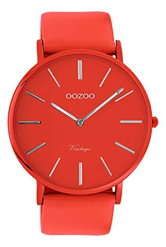 Oozoo Vintage Herrenuhr Colors of The Summer mit Lederband Flach 44 MM Rot C9879