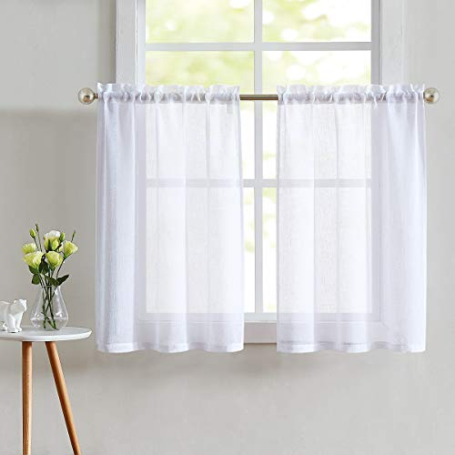 Fragrantex Sheer White Kitchen Curtains for Bathroom Windows 24 inch,Cafe Curtain for Bathroom Short Window Tiers 30' W x 24' L/2 Panels Rod Pocket