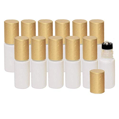 5ml White Glass Roller Bottles for Essential Oils – Leak-proof Roller Bottles- Thick Glass, Brush Gold Lid, Updated Stainless Steel Roller Ball Insert – Pack of 12, Sold by Holistic Oils