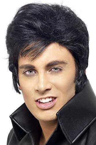Smiffys Heren Elvis pruik, One Size, Zwart, 42216