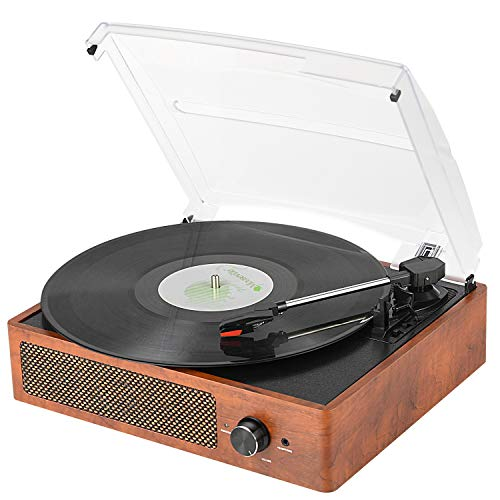 Bluetooth Record Player Belt-Driven 3-Speed Turntable, Vintage Vinyl Record Players Built-in Stereo Speakers, with Headphone Jack/Aux Input/RCA Line Out, Wooden