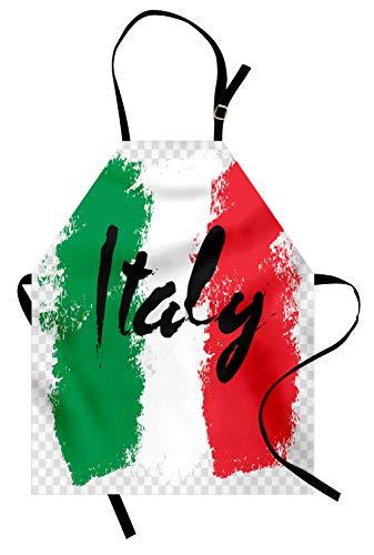 ABAKUHAUS Italien Kochschürze, Hand geschriebenes Wort auf Italienisch Flagge Bunte Anordnung Grunge Backgro& Print, Höhenverstellbar Klare Farben ohne verblassen, Rot Grün