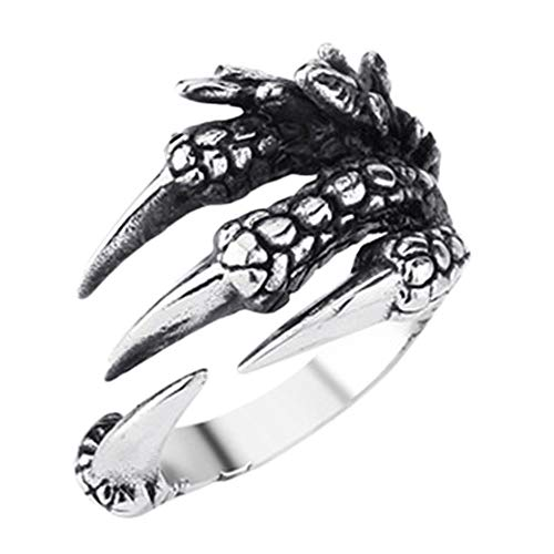 Keai Open herenring Europese en Amerikaanse dominante draak klauw stijl punk stijl titanium stalen ring