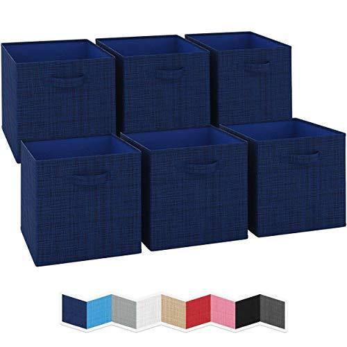 NEATERIZE - Cubos de almacenamiento grandes de 13 x 13 x 13 cm, juego de 6 cubos de almacenamiento. Cuenta con dos asas | cubos de almacenamiento | Organizadores plegables de...