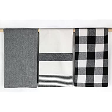 Three Black and White Kitchen Towels by C & F