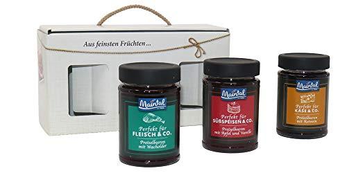 Maintal Geschenkset Preiselbeervariationen (Apfel-Vanille, Rotwein, Wacholder), 3er Pack (3 x 210 g