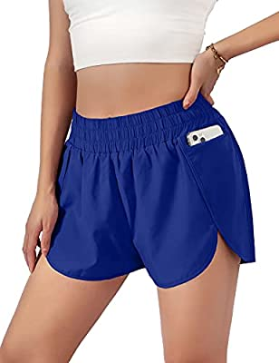 """Blooming Jelly Womens Quick-Dry Running Shorts Sport Pants Elastic Waist Active Workout Shorts with Pockets 1.75"""" (Small, Neon Blue)"""