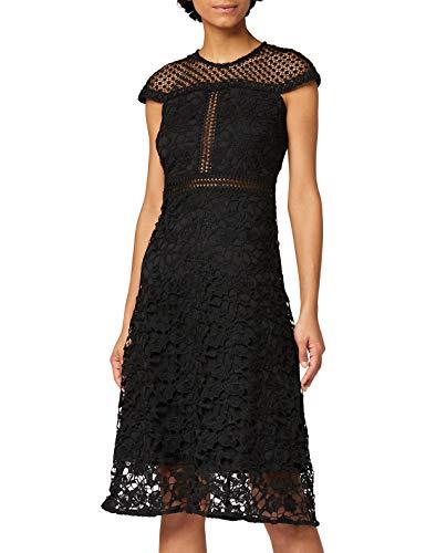 Marchio Amazon - TRUTH & FABLE Vestito Elegante Donna con Pizzo, Nero (Black), 46, Label: L