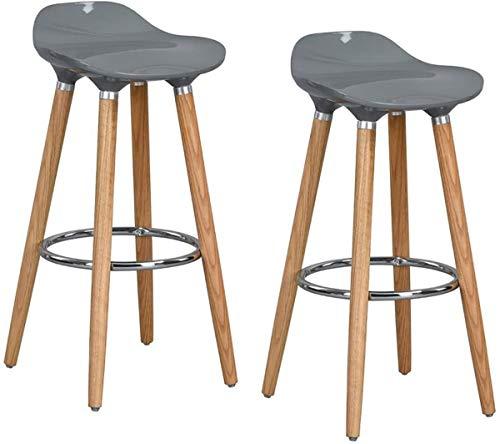 Lot de 2 tabourets en bois avec assise en ABS et repose-pieds en bois Tabouret en plastique gris