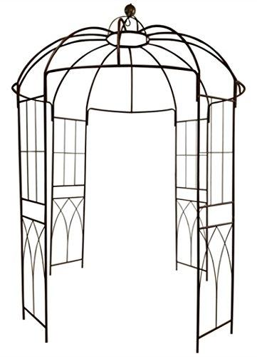 Outour, gazebo a 4 lati a forma di gabbia per uccelli; traliccio ad arco in ferro battuto; gazebo, supporto per piante, viti e fiori