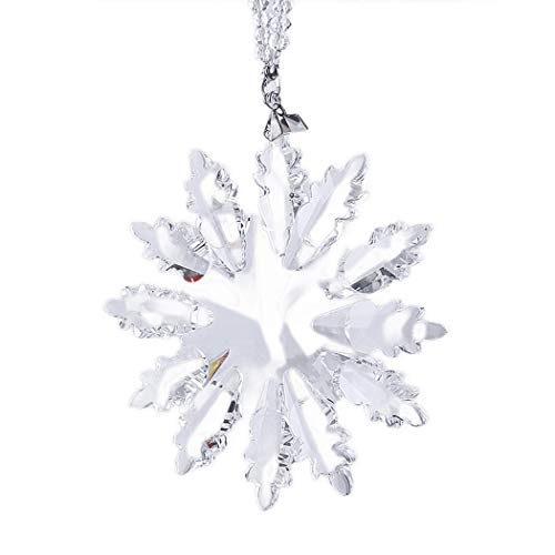 titiskin Ice Angel Christmas Ornament, Crystal Snowflake Annual Winter Star Pendant (Clear)