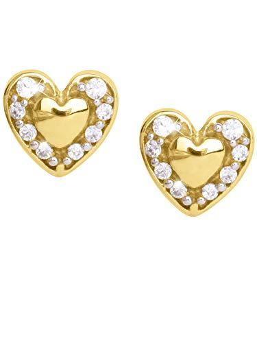 MyGold Herz Ohrstecker Stecker Ohrringe Gelbgold 333 Gold (8 Karat) Mit Zirkonia 5mm x 5mm Mini Herzchen Herzform Herzohrringe Goldstecker Patty V0012506
