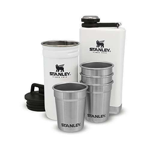 Stanley Adventure Pre-Party Shot Glass + Flask Set Polar White – en Acier Inoxydable sans BPA |Flasque en Acier Inoxydable | Coffret Cadeau | Passe au Lave-Vaisselle | Garantie à Vie