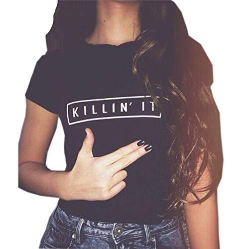 YITAN Women Tees Teen Girl Tops Graphic Cute Funny T Shirt Black Large