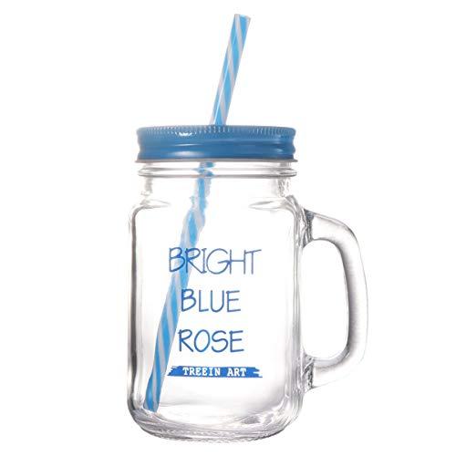 YARNOW Barattoli in Vetro da 500 Ml Bottiglie Bicchieri con Coperchio Manico E Cannuccia Barattolo Vintage Retro Terrazza da Giardino (Blu)