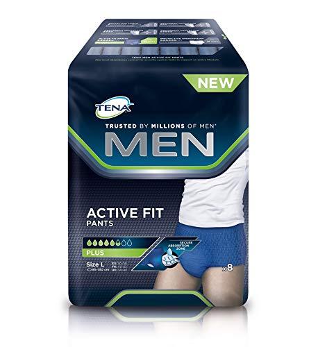 Tena MEN, Boxer Assorbenti per Perdite Urinarie, Elasticizzati, Monouso, per Uomo, Taglia L, 8 Pezzi - 640 g