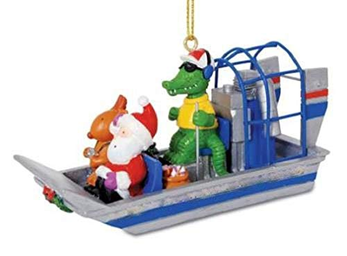 Cape Shore Alligator Guided Airboat with Santa and Reindeer Christmas Holiday Ornament