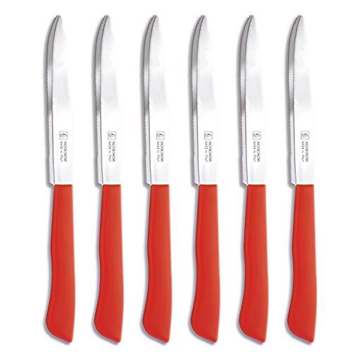 Set di coltelli da cucina italiana, 6 pezzi (11 cm, extra affilato, coltello da tavola, manico ergonomico, lavabile in lavastoviglie) rosso