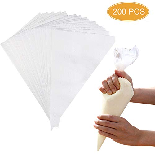 DLOnline 200 Pcs Disposable Cream Pastry Bag Cake Icing Piping Decorating Tool Cupcake Decorating Piping Icing Bag (White)