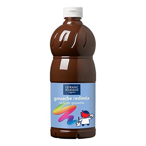 Lefranc Bourgeois - Gouache liquide Redimix pour enfants - Bouteille 1L - Terre d'ombre brûlée