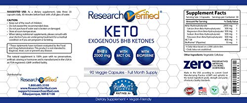 Research Verified Keto - Vegan Keto Supplement with 4 Exogenous Ketone Salts (Calcium, Sodium, Magnesium and Potassium) and MCT Oil to Boost Energy, Weight Loss and Focus in Ketosis - 6 Bottles 5