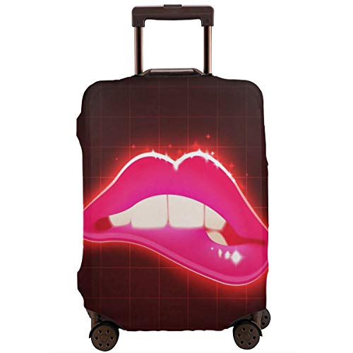 Protective Suitcase Cover Woman Biting Lips Retro Illustration Travel Suitcase Protector L