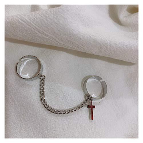 Xpwoz Anillo de la Cadena de la Cruz de Plata de la Vendimia Joyas de la Ropa de los Hombres de Las señoras de Las señoras de Las señoras (Color : Cross Ring)