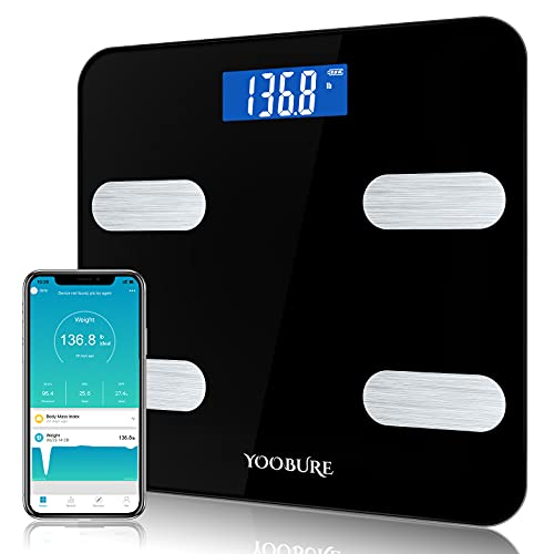 Body Fat Scale, Yoobure Digital Bathroom Scale for Body Weight, BMI Muscle, Mass Water and Calorie Protein, Smart Body Composition Scale with Smartphone App Sync