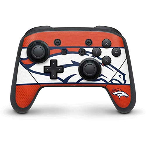 Skinit Decal Gaming Skin Compatible with Nintendo Switch Pro Controller - Officially Licensed NFL Denver Broncos Zone Block Design