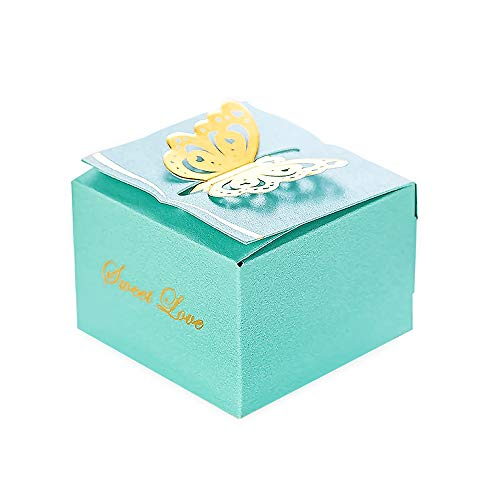 """KAZIPA 50pcs Laser Cut Flower Candy Boxes,2.6"""" x 2.6"""" x 1.6"""" Butterfly Gift Boxes for Anniverary Party Wedding Favor(Blue)"""