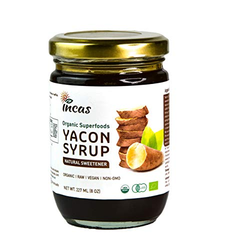 Organic Yacon Syrup 227ml (8oz/45 Servings) All Natural Alternative Sweetener Keto Vegan & Gluten Free Excellent Prebiotic Highest FOS Boosts Metabolism Sourced from Peru USDA Certified