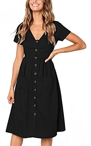 Angashion Women's Dresses-Short Sleeve V Neck Button Decoration T Shirt Midi Skater Dress with Pockets Black XL
