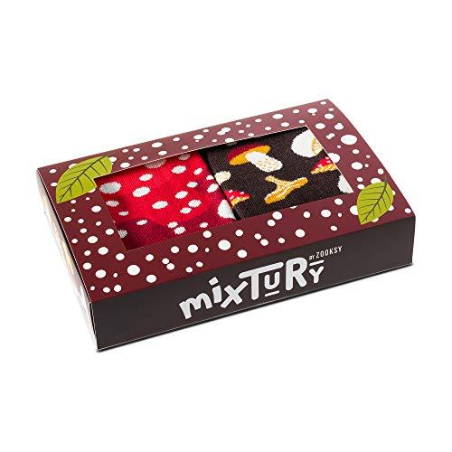 ZOOKSY - Damen Herren Kinder Lustige mixTURY Wald Socken Geshenk - 2 Paar - Pilze - Größen 36-40