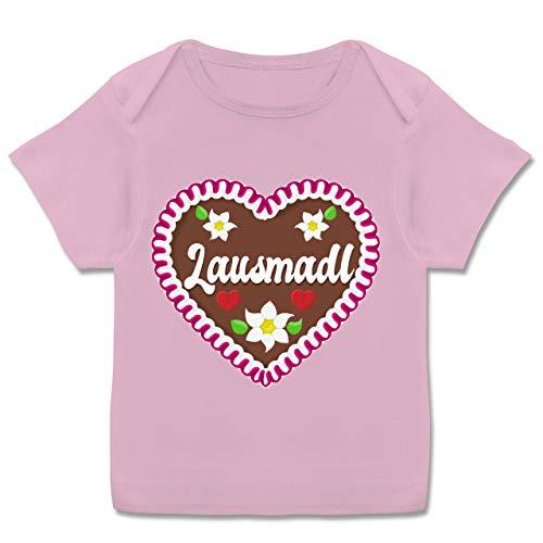 Oktoberfest Baby - Lausmadl Lebkuchenherz - 68-74 - Rosa - München - E110B - Kurzarm Baby-Shirt für Jungen und Mädchen