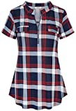 BEPEI Plaid Shirts for Women,Short Sleeve Sexy Deep V Neck Gingham Patterned Tunic Tops Stylish Comfortble Patchwork Pinstripe Flannel Blouses Allover Color Plus Size Navy Blue Red 2XL