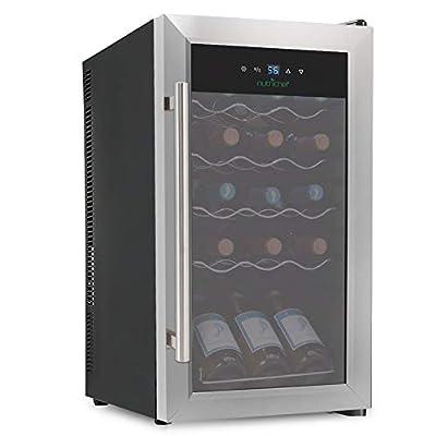 Nutrichef 15 Bottle Refrigerator-White Red Chiller Countertop Cooler-Freestanding Compact Mini Wine Fridge, w, Digital Control, Stainless Steel Door