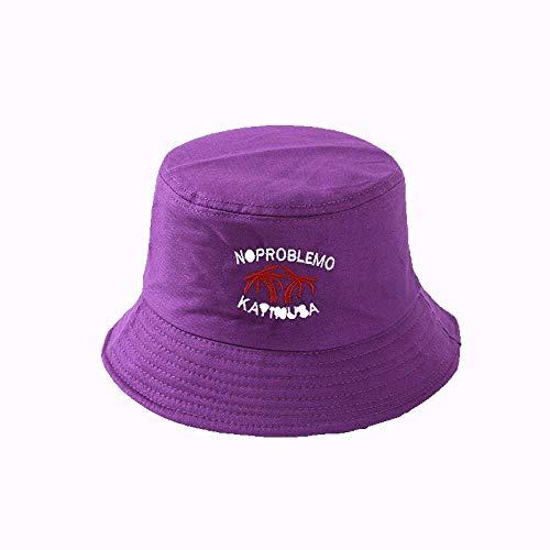 SSM Unisex Bucket Hats Spring And Summer Ocio Pescador Hat Sombrero Plegable Bordado Sombrilla Sol Hat-Purple algodón/Púrpura/Talla única