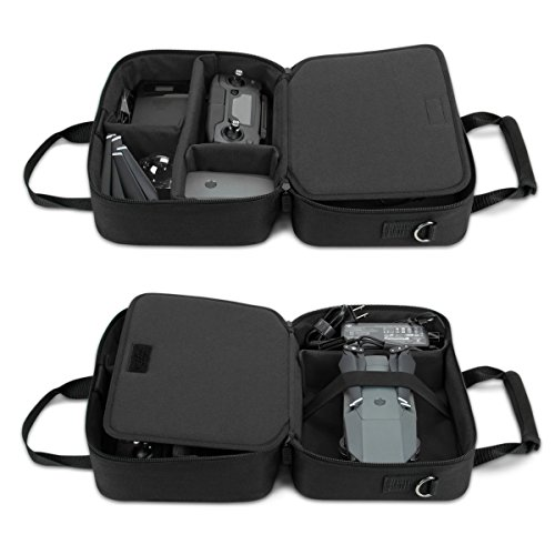 USA Gear Drone Carrying Case with Strap, Adjustable Dividers, and Accessory Pockets - Compatible with Yuneec Breeze, DJI Mavic Pro 2 and More - Fits Drone, Charger Cable, Batteries, and Propellers