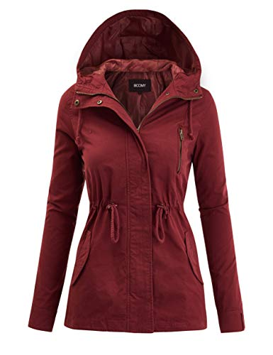 FASHION BOOMY Women's Zip Up Safari Military Anorak Jacket with Hood Drawstring - Regular and Plus Sizes Medium Marsala